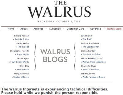 The Walrus error message